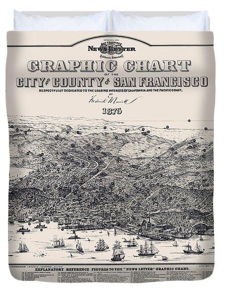 San Francisco Graphic Map 1875 Duvet Cover by Daniel Hagerman