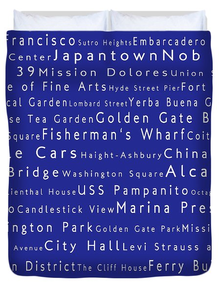 San Francisco In Words Blue Duvet Cover by Sabine Jacobs