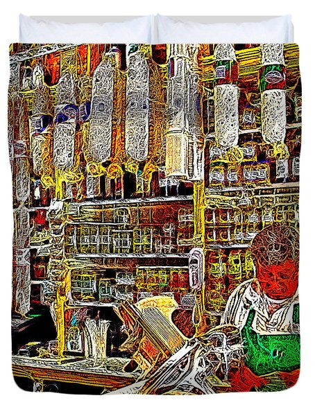 San Francisco North Beach Deli 20130505v2 square Duvet Cover by Wingsdomain Art and Photography