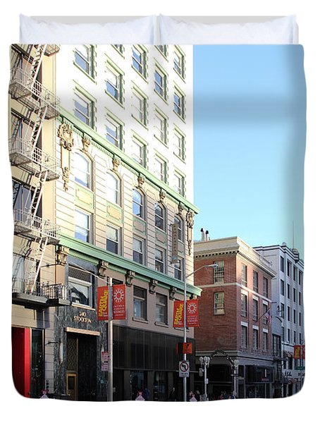 San Francisco Stockton Street At Union Square - 5d20564 Duvet Cover by Wingsdomain Art and Photography