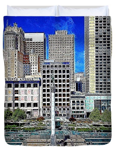 San Francisco Union Square 5D17938 Artwork Duvet Cover by Wingsdomain Art and Photography