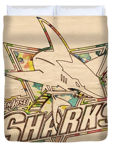 San Jose Sharks Vintage Poster Duvet Cover by Florian Rodarte