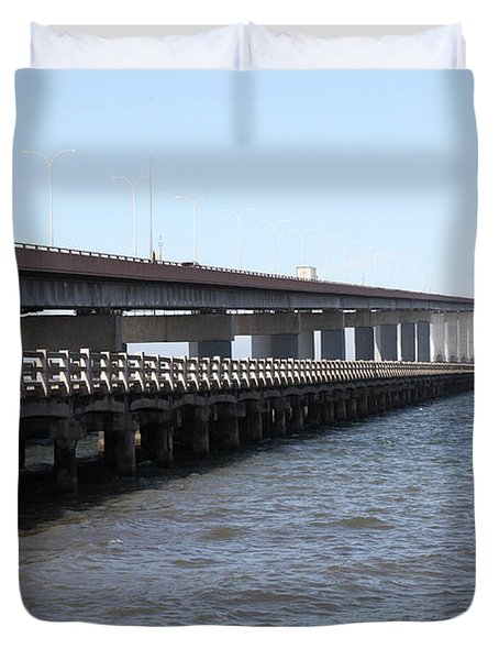 San Mateo Bridge In The California Bay Area 5d21892 Duvet Cover by Wingsdomain Art and Photography