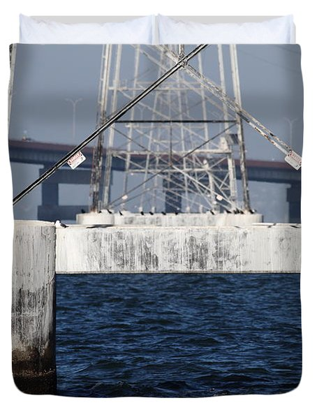 San Mateo Bridge In The California Bay Area 7d21943 Duvet Cover by Wingsdomain Art and Photography