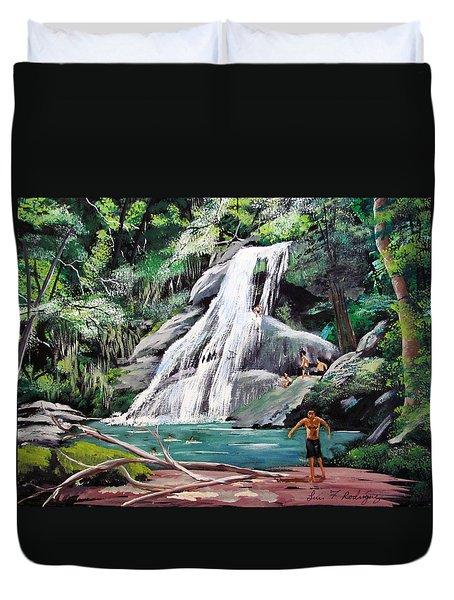 San Sebastian Waterfall Duvet Cover by Luis F Rodriguez