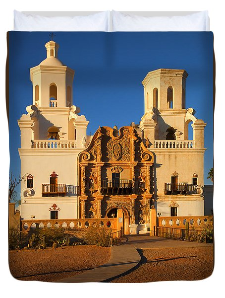 San Xavier Mission Duvet Cover by Mike  Dawson