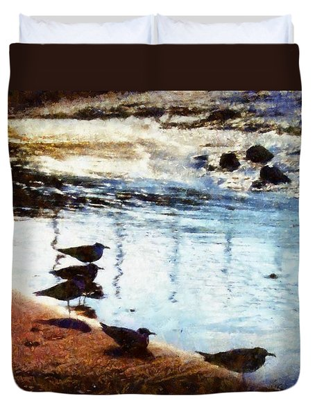 Sandpipers At The Shore Duvet Cover by Janine Riley
