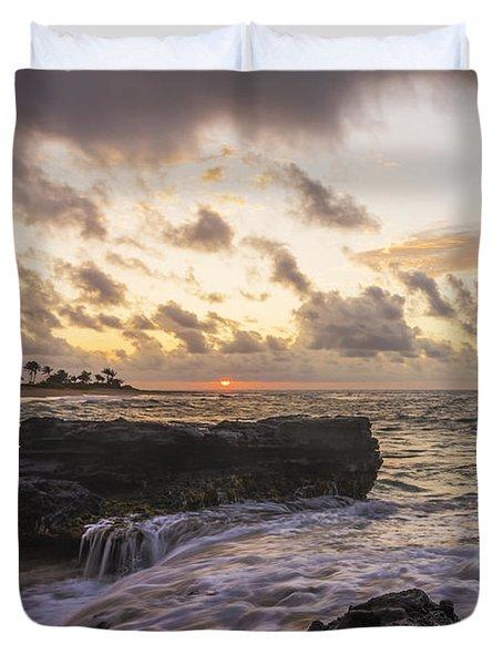 Sandy Beach Sunrise 1 - Oahu Hawaii Duvet Cover by Brian Harig