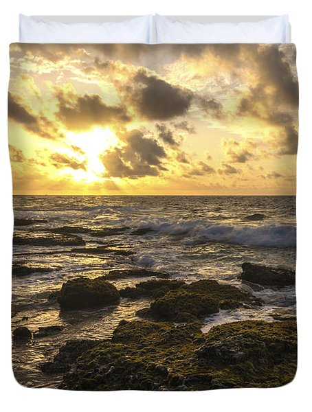Sandy Beach Sunrise 11 - Oahu Hawaii Duvet Cover by Brian Harig