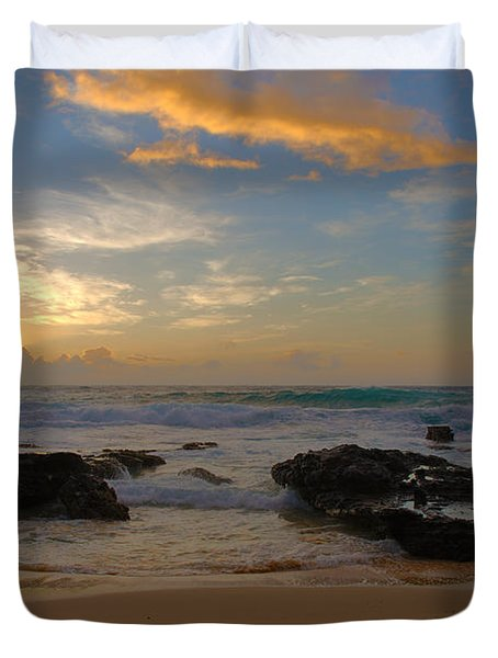 Sandy Beach Sunrise 3 - Oahu Hawaii Duvet Cover by Brian Harig
