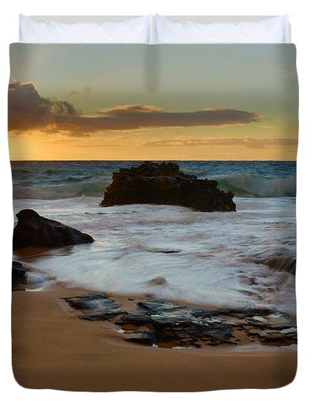 Sandy Beach Sunrise 7 - Oahu Hawaii Duvet Cover by Brian Harig