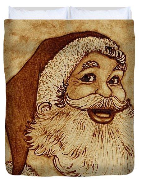 Santa Claus Joyful Face Duvet Cover by Georgeta  Blanaru