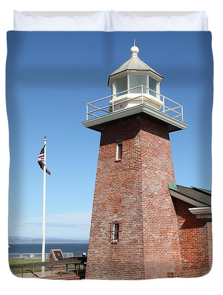 Santa Cruz Lighthouse Surfing Museum California 5d23936 Duvet Cover by Wingsdomain Art and Photography
