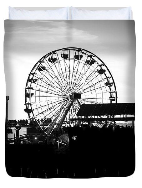 Santa Monica Ferris Wheel Black and White Photo Duvet Cover by Paul Velgos