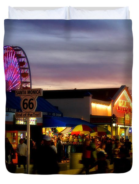Santa Monica Pier At Sunset Duvet Cover by Diana Sainz