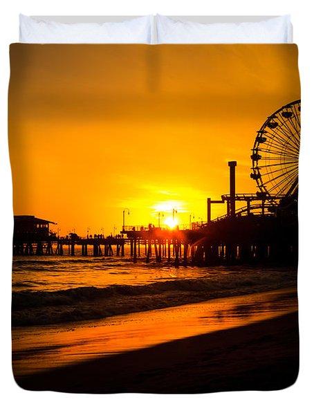 Santa Monica Pier California Sunset Photo Duvet Cover by Paul Velgos