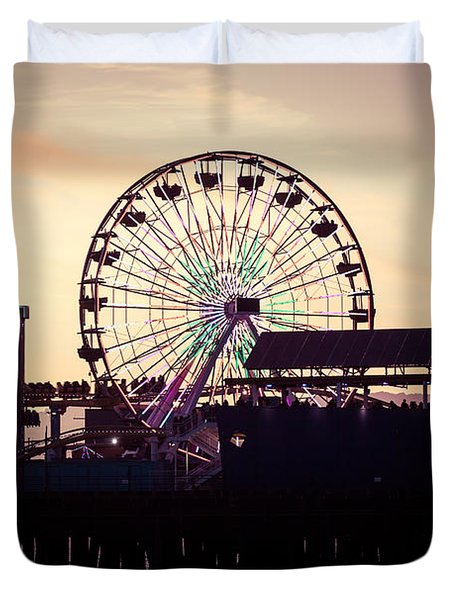 Santa Monica Pier Ferris Wheel Retro Photo Duvet Cover by Paul Velgos