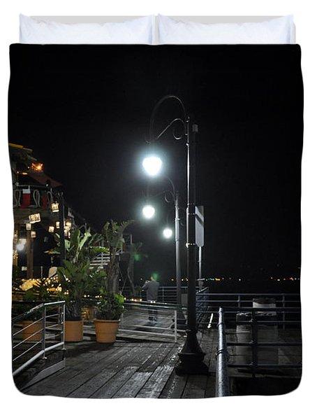 Santa Monica Pier Duvet Cover by Gandz Photography