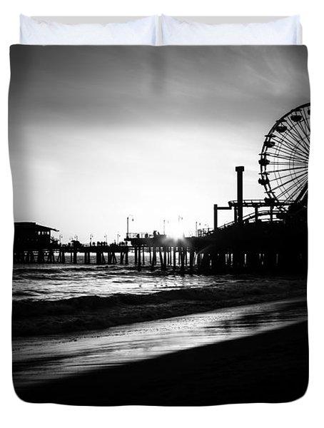 Santa Monica Pier In Black And White Duvet Cover by Paul Velgos