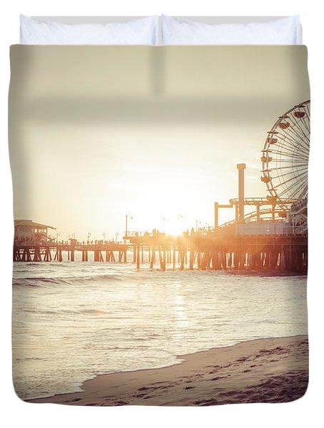 Santa Monica Pier Retro Sunset Picture Duvet Cover by Paul Velgos