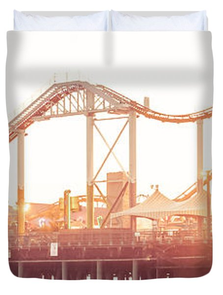 Santa Monica Pier Roller Coaster Panorama Photo Duvet Cover by Paul Velgos