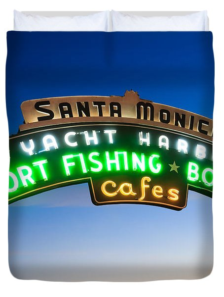 Santa Monica Pier Sign Duvet Cover by Paul Velgos