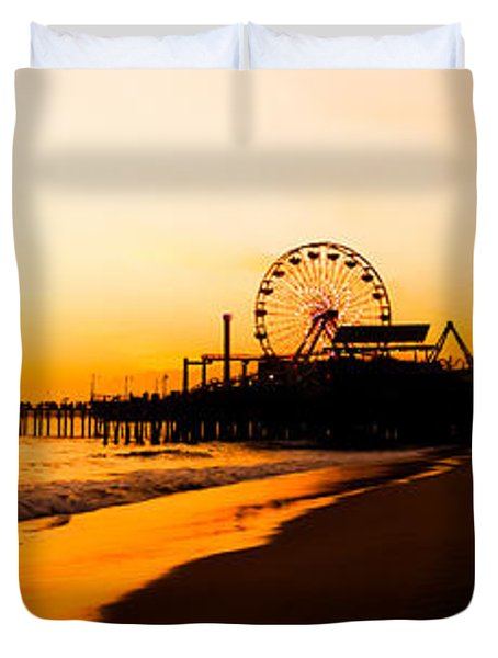 Santa Monica Pier Sunset Panorama Picture Duvet Cover by Paul Velgos