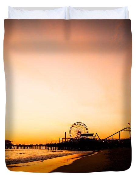 Santa Monica Pier Sunset Southern California Duvet Cover by Paul Velgos