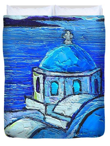 SANTORINI  BLUE Duvet Cover by ANA MARIA EDULESCU