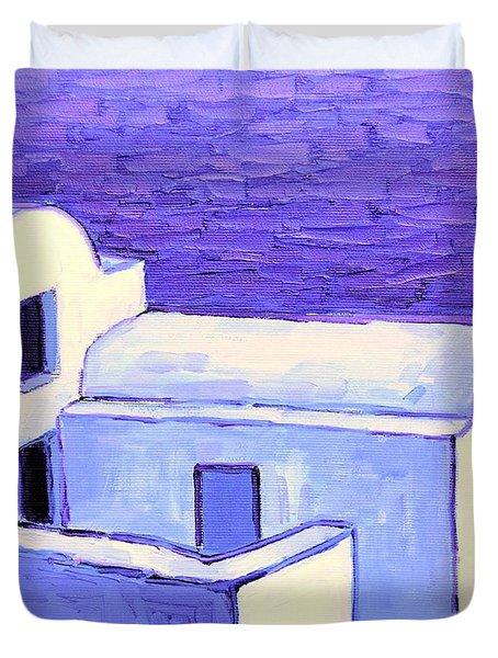 Santorini Houses Duvet Cover by Ana Maria Edulescu