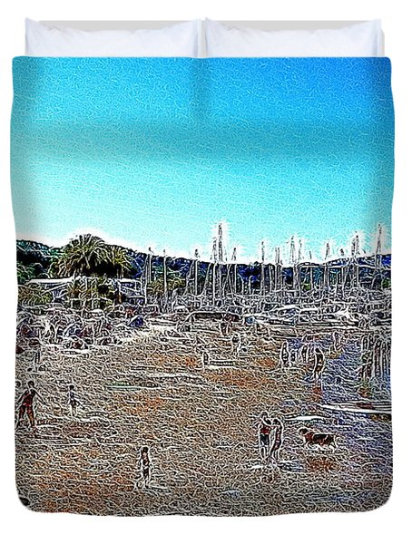 Sausalito Beach Sausalito California 5D22696 Artwork Duvet Cover by Wingsdomain Art and Photography