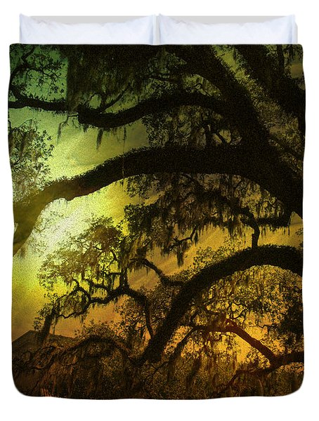 Savannah Ga Spanish Moss-featured In Best Blank Greeting Cards And Harmony And Happiness Groups Duvet Cover by EricaMaxine  Price