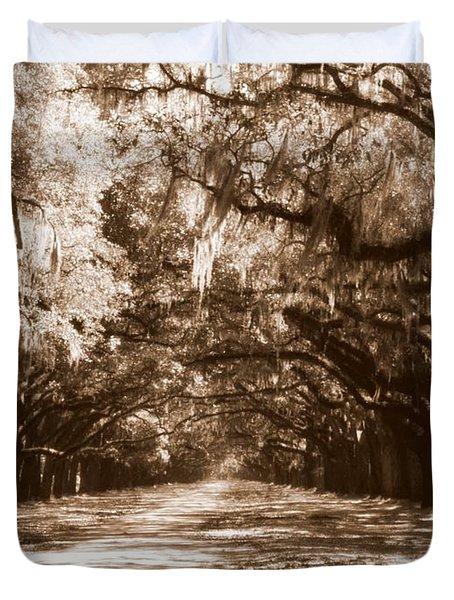 Savannah Sepia - The Old South Duvet Cover by Carol Groenen