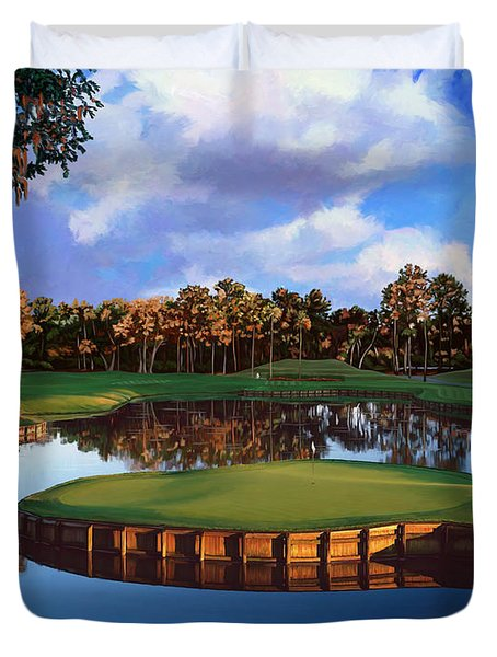 Sawgrass 17th Hole Duvet Cover by Tim Gilliland