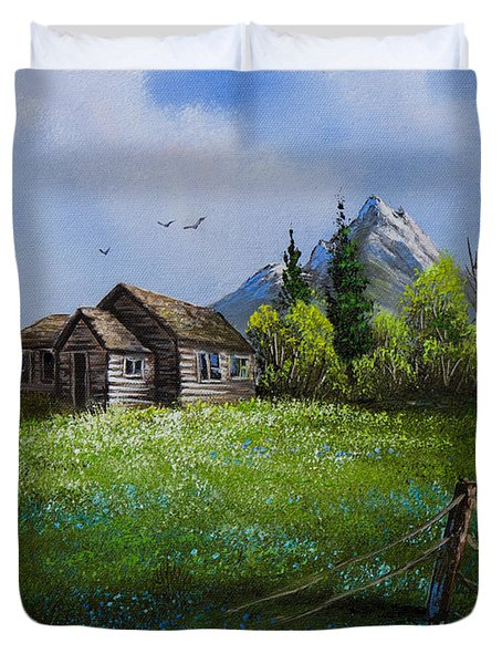 Sawtooth Mountain Homestead Duvet Cover by C Steele