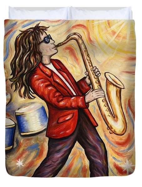 Sax Man Duvet Cover by Linda Mears