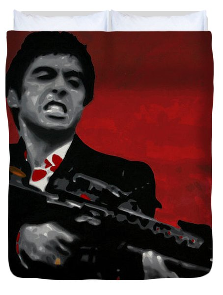 Say Hello To My Little Friend  Duvet Cover by Luis Ludzska