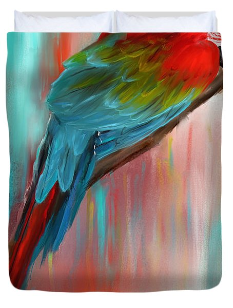 Scarlet- Red And Turquoise Art Duvet Cover by Lourry Legarde