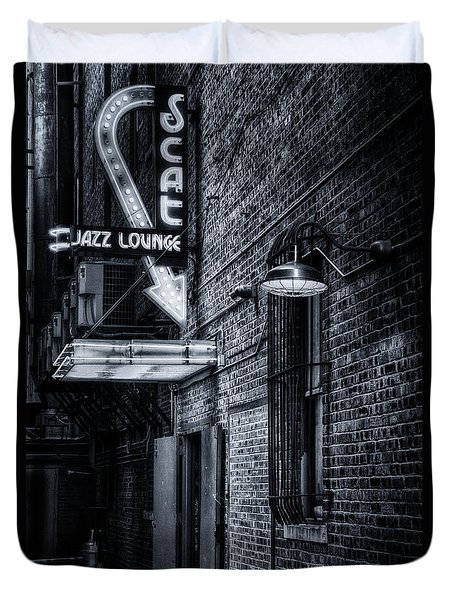 Scat Lounge in Cool Black and White Duvet Cover by Joan Carroll