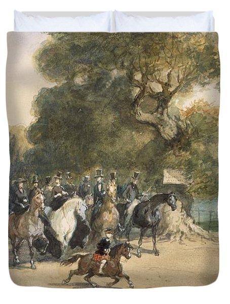 Scene In Hyde Park Duvet Cover by Eugene-Louis Lami