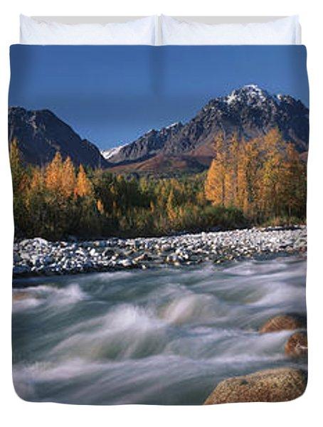 Scenic Of Granite Creek In Autumn Sc Duvet Cover by Calvin Hall