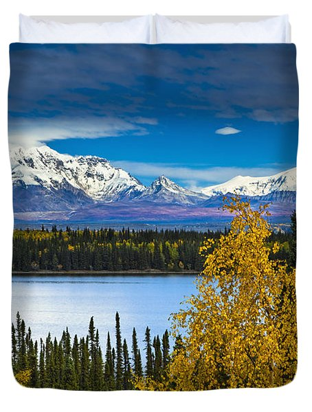 Scenic View Of Mt. Sanford L And Mt Duvet Cover by Sunny Awazuhara- Reed
