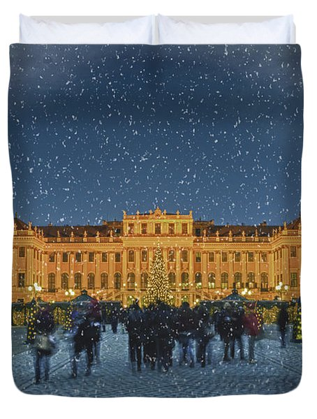 Schonbrunn Christmas Market Duvet Cover by Joan Carroll