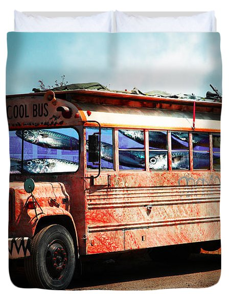 School Bus 5D24927 Duvet Cover by Wingsdomain Art and Photography