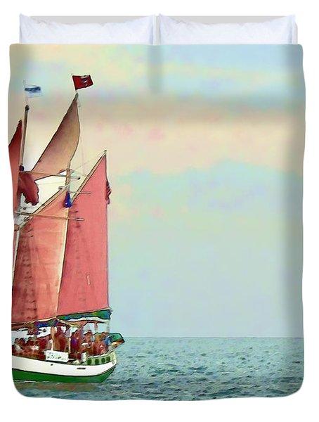 Schooner Jolly Rover Key West Duvet Cover by Joan  Minchak