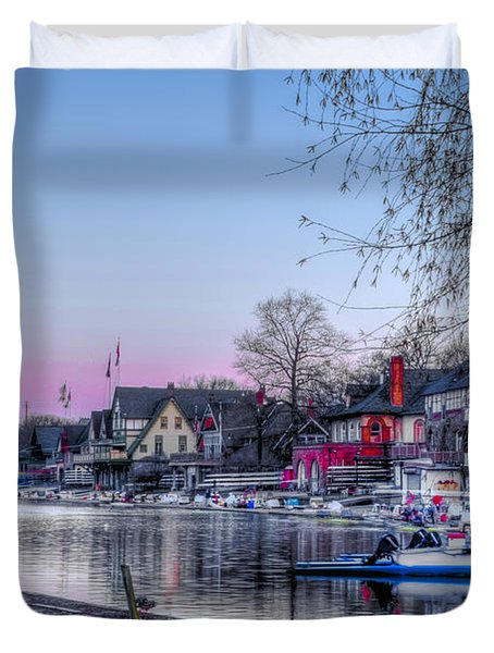 Schuylkill River and Boathouse Row Philadelphia Duvet Cover by Bill Cannon