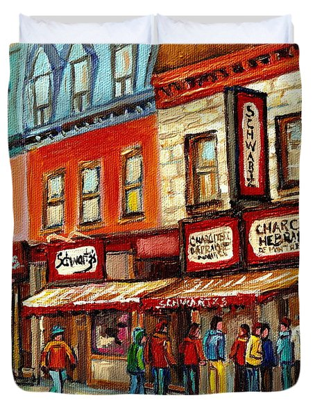 Schwartz The Musical Painting By Carole Spandau Montreal Streetscene Artist Duvet Cover by Carole Spandau