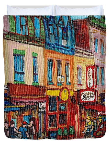 Schwartzs Deli And Warshaw Fruit Store Montreal Landmarks On St Lawrence Street Duvet Cover by Carole Spandau