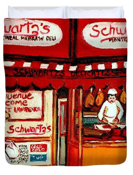 Schwartz's  Deli  Montreal Landmarks Duvet Cover by Carole Spandau