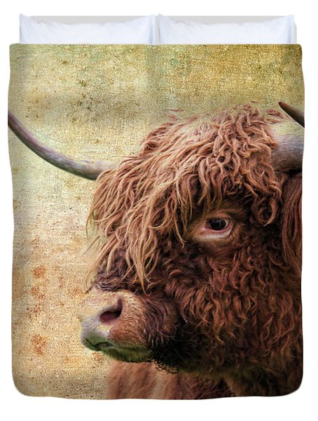 Scottish Highland Steer Duvet Cover by Steve McKinzie
